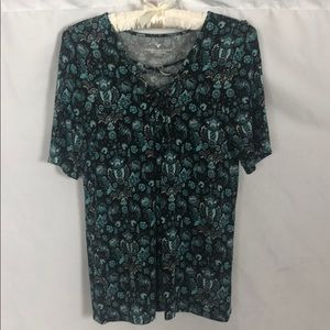 American Eagle Floral Short Sleeve Blouse Size M